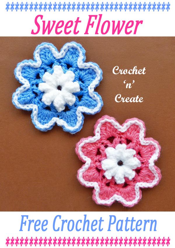 sweet crochet flower pattern