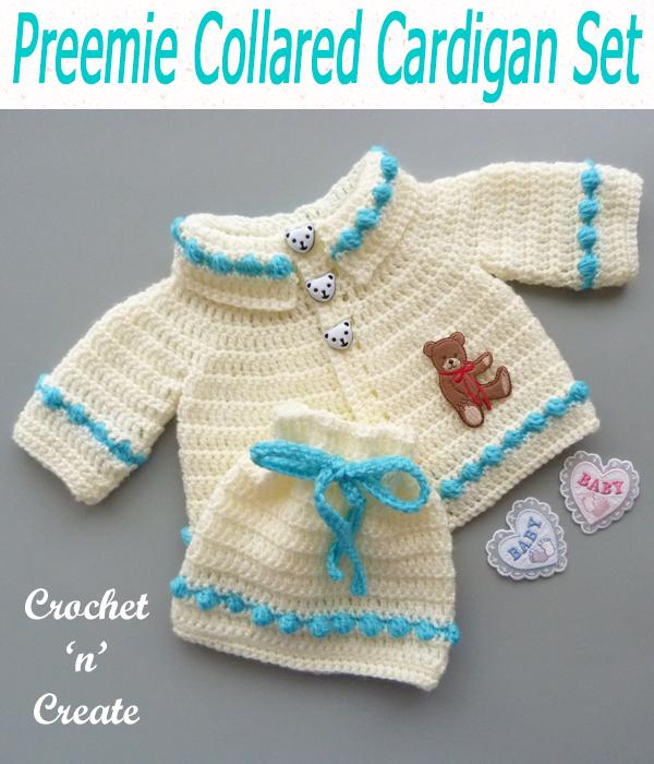 preemie collared cardigan set