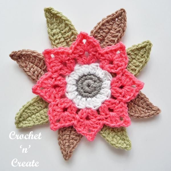 crochet leafy flower Pattern
