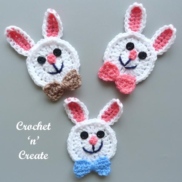 crochet rabbit face applique