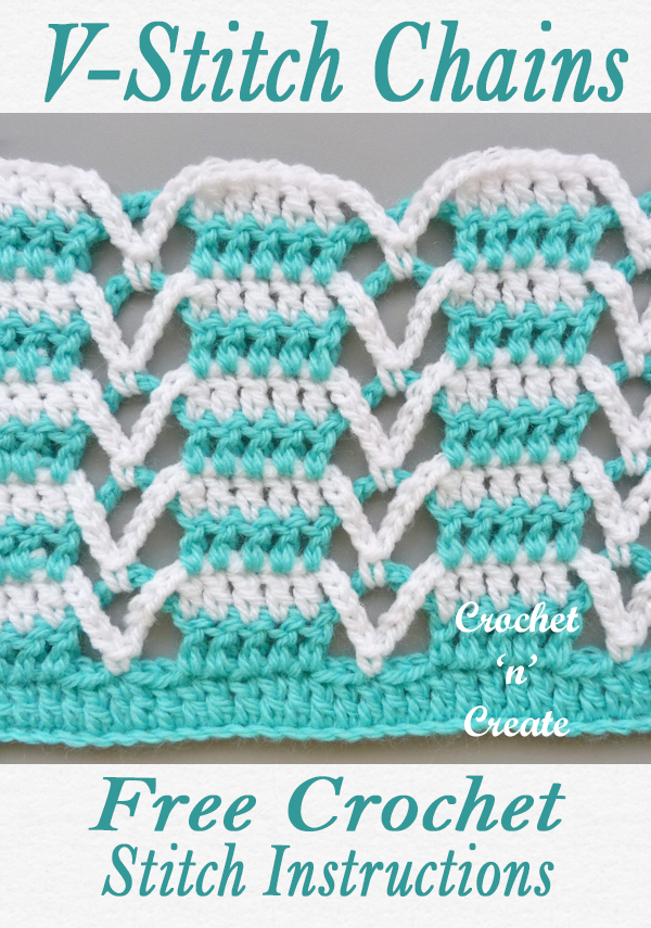 crochet v-stitch chains tutorial