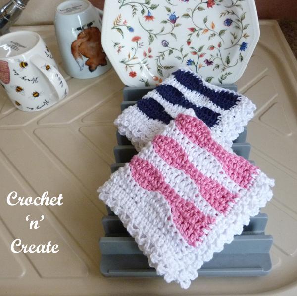 crochet wave dishcloth pattern